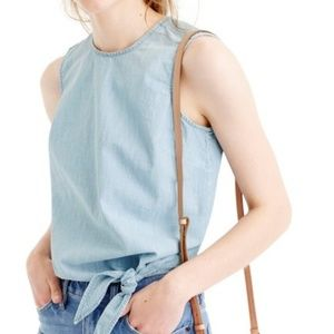 J. Crew • Chambray Tie Waist Top